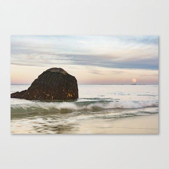 Pastel Moon rise at the beach Canvas Print