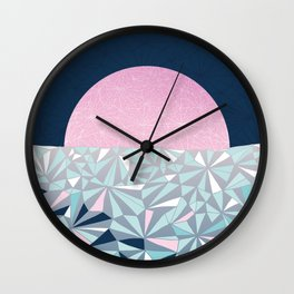 Geometric Sunset - Navy Blue and Pink Wall Clock