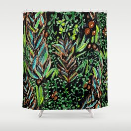 A Good Tropical Pattern With a Black Background is Hard to Find Shower Curtain