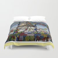 hindu Duvet Covers featuring NEPALI PRAYERS CARRIED BY THE WIND FROM FLAGS by Alpine Seaside Landscapes