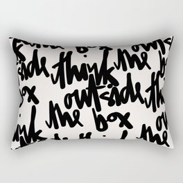 Think Outside The Box Black-White Typography Rectangular Pillow