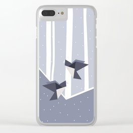 Elegant Origami Birds Abstract Winter Design Clear iPhone Case