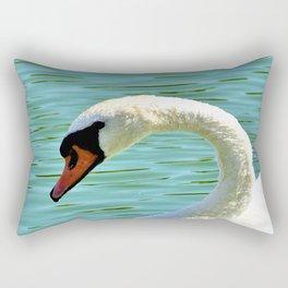 Beautiful White Swan Swimming On Rawhide Lake Texas Rectangular Pillow