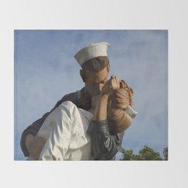 Kissing Sailor And Nurse Portrait Throw Blanket