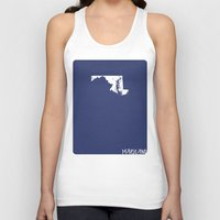 maryland Tank Tops featuring Maryland Minimalist Vintage Map by Finlay McNevin