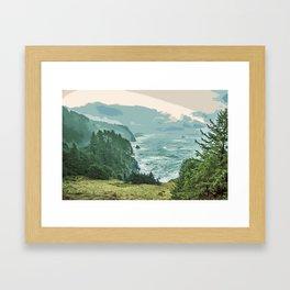 Oregon Coast Sunrise in Simplified Color Framed Art Print