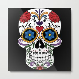 Colorful Sugar Skull Metal Print
