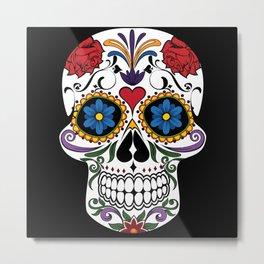 Colorful Sugar Skull Metal Print