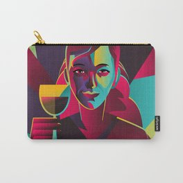 colorful cubist girl drinking wine Carry-All Pouch