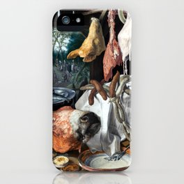 Pieter Aertsen A Meat Stall with the Holy Family Giving Alms iPhone Case