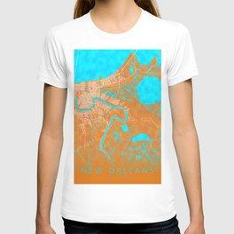 New Orleans, LA, USA, Gold, Blue, City, Map T-shirt