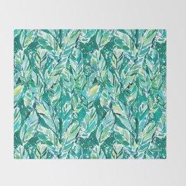 BANANA LEAF JUNGLE Green Tropical Throw Blanket