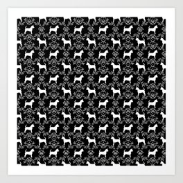 Chihuahua silhouette black and white florals flower pattern art pattern dog breed Art Print