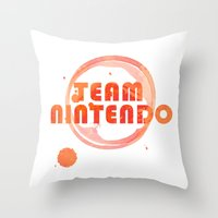 nintendo Throw Pillows featuring Team Nintendo by Bradley Bailey