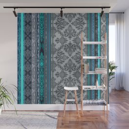 Teal, Aqua & Grey Vintage Bohemian Wallpaper Stripes Wall Mural