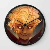 calcifer Wall Clocks featuring Calcifer by Cruz'n Creations