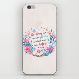 Reading can take you places iPhone Skin