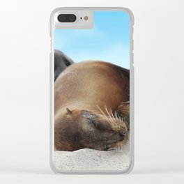Sea lions family sleeping together on beach Clear iPhone Case