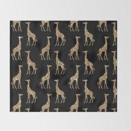 Black Gold Glitter Giraffe Pattern Throw Blanket