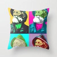 lichtenstein Throw Pillows featuring Warhol, Lichtenstein & The Fisherman by Christoffer Dupont