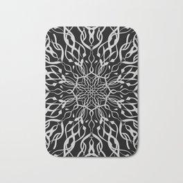 Floral Black and White Mandala Bath Mat