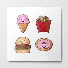 Kawaii Fast Food Metal Print