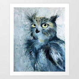 Blue Owl Painting Art Print