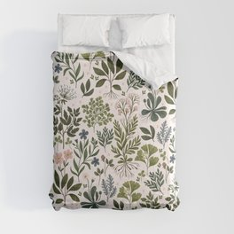 Herbarium ~ vintage inspired botanical art print ~ white Comforters