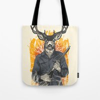 hunting Tote Bags featuring Hunting Season by Niel Quisaba