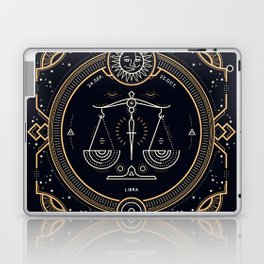 Libra Zodiac Golden White on Black Background Laptop & iPad Skin