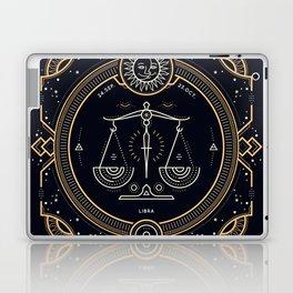 Libra Zodiac Golden White on Black Background Laptop & iPad Skin