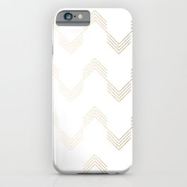Simply Deconstructed Chevron White Gold Sands on White iPhone Case