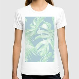 Tropical Leaves Luxe Pastel Sea Turquoise Blue Green T-shirt