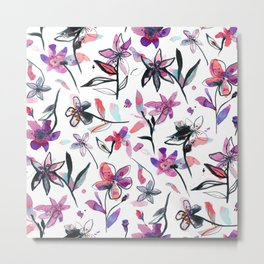 Ink flowers pattern - Viola Metal Print