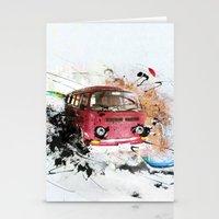 volkswagen Stationery Cards featuring volkswagen van by Adriana Bermúdez