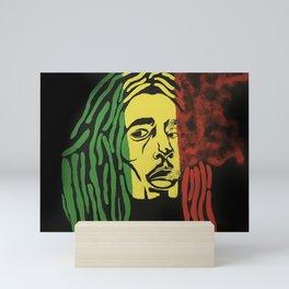 rasta man,vibration,jamaica,reggae,music,smoke,ganja,weed,pop art,portrait,wall mural,wall art,paint Mini Art Print