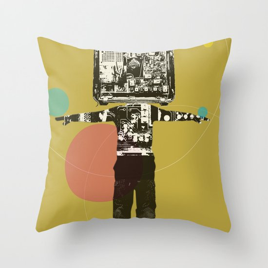 Electric Kid Collage Throw Pillow
