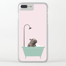 Hippo Enjoying Bubble Bath Clear iPhone Case