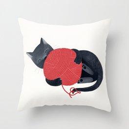 Black cat Red yarn Throw Pillow
