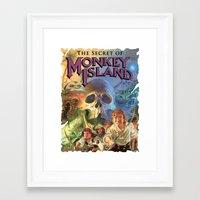 monkey island Framed Art Prints featuring Monkey Island by idaspark