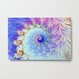 Pink Ice Spiral Fractal Metal Print