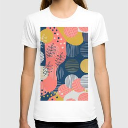 Mid Modern Nature 2.5 Coral, blue & Gold T-shirt