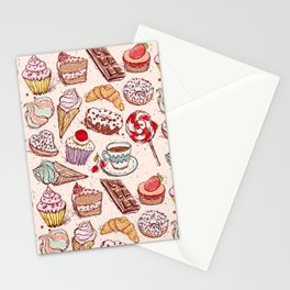 Hand drawn confectionery croissant Cupcake candy ice cream cake donut and coffee Stationery Cards