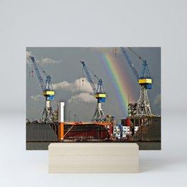 Rainbow over the port of HAMBURG Mini Art Print