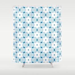 Shibori Stars (blue and white) Shower Curtain