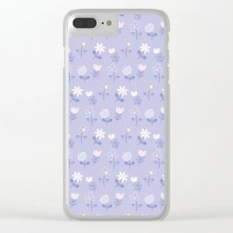 Pastel pink lilac modern abstract floral illustration Clear iPhone Case
