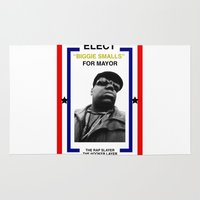 biggie smalls Area & Throw Rugs featuring Biggie Smalls for Mayor by tracygrahamcracker