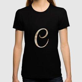 Rose Gold Marble Monogram Alphabet Letter C design T-shirt