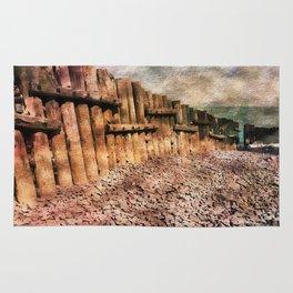 Sea Defence Groynes - watercolour effect. Rug
