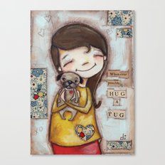 Pug Hug by Diane Duda Canvas Print